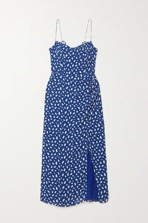 Blue Kourtney printed georgette midi dress   Reformation   NET-A-PORTER