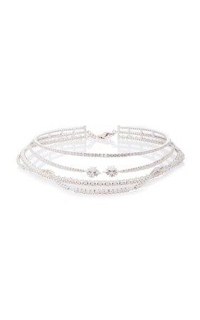 Illusion Layered 18K White And Diamond Necklace by Yeprem | Moda Operandi