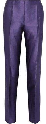 Linen-blend Satin-twill Slim-leg Pants