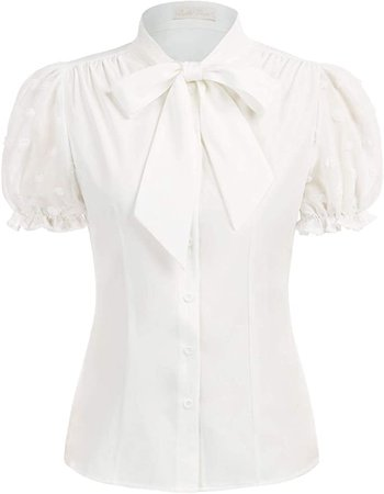 Women's Tie Neck Tops 1950s Retro Vintage Short Sleeve Collared Shirt Top, White, M at Amazon Women's Clothing store