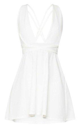 White Wrap Detail Skater Dress   PrettyLittleThing