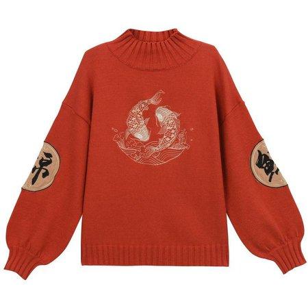 Vintage Koi Fish Mock Neck Sweater | Juwas