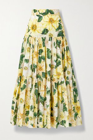 Tiered Floral-print Cotton-poplin Maxi Skirt - Yellow