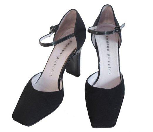 VINTAGE ANDREA PUCCINI square toe heels / 90s / square-toe / | Etsy