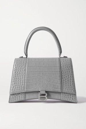 Hourglass Medium Croc-effect Leather Tote - Light gray