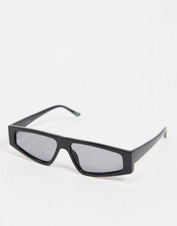 ASOS DESIGN flat top visor sunglasses in black | ASOS