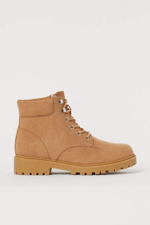 Warm-lined Boots - Beige