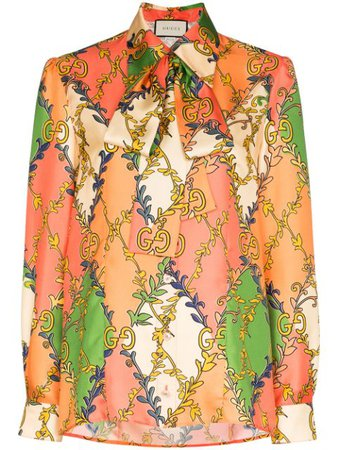Gucci Gg Diamond Print Blouse 602040ZADFN Orange | Farfetch