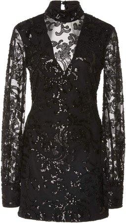 Franciska Metallic Embroidered Mini Dress