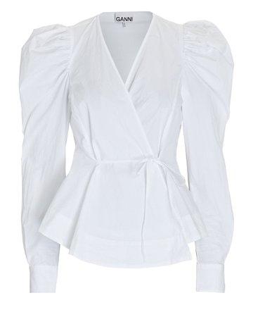 GANNI Poplin Puff Sleeve Wrap Blouse | INTERMIX®