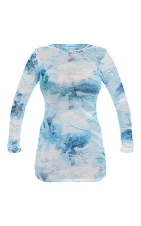 Blue Oriental Print Mesh Bodycon Dress | PrettyLittleThing