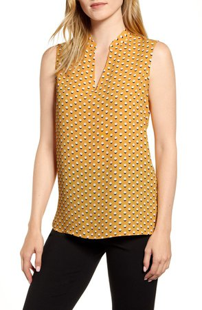 Dot Print Sleeveless Top