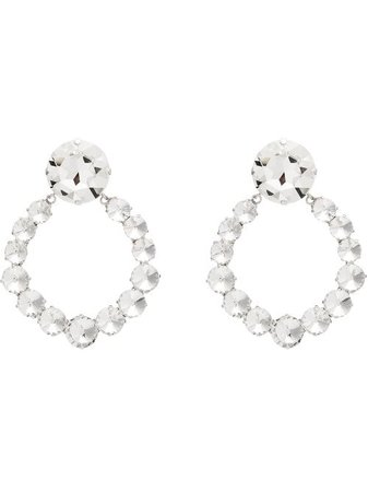 Shop Alessandra Rich silver plated crystal hoop earrings with Express Delivery - FARFETCH