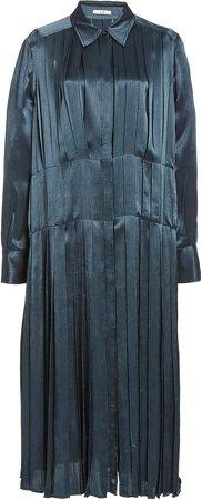Co Pleated Crepe De Chine Dress