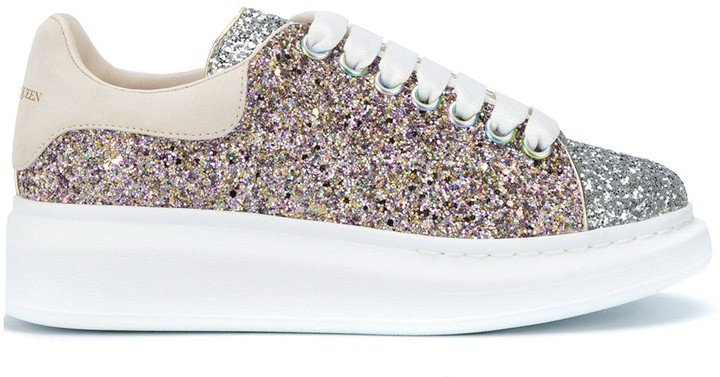 Oversized Metallic Glittered Sneakers