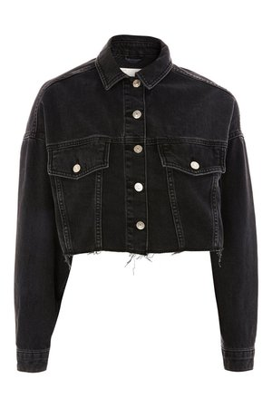 cropped black denim jacket - Google Search