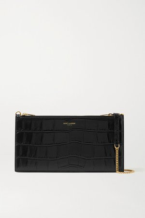 Croc-effect Leather Shoulder Bag - Black