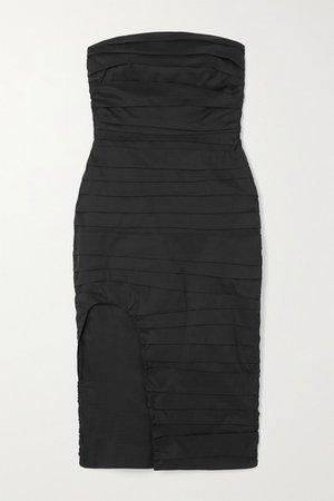 Strapless Ruched Cotton Dress - Black