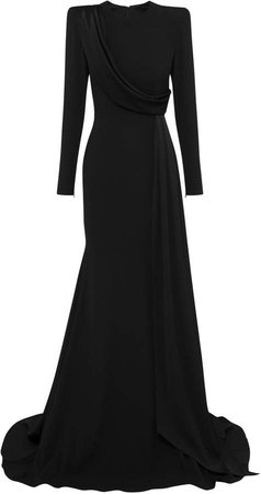 Alex Perry Maxwell Drape-Detailed Satin Crepe Gown