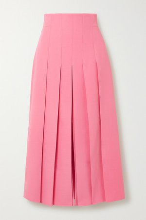 Pleated Wool-blend Midi Skirt - Pink
