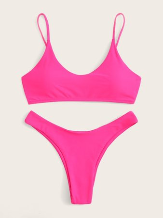 Neon Pink Spaghetti Strap Top With High Cut Bikini | ROMWE