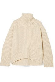 Nanushka | Eria cropped faux pearl-embellished cable-knit sweater | NET-A-PORTER.COM