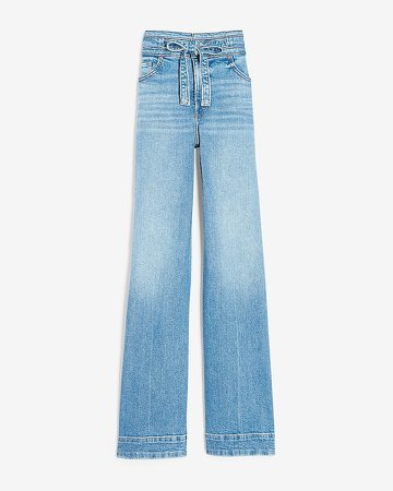 Super High Waisted Belted Wide Leg Jeans