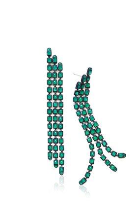 Nakard Triple Line Sterling Silver Onyx Earrings By Nak Armstrong | Moda Operandi
