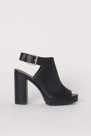 Chunky-soled Sandals - Black
