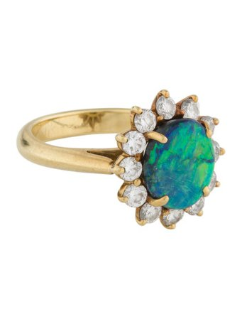Tiffany & Co. 18K Opal & Diamond Cocktail Ring - Rings - TIF123649   The RealReal