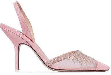 Crystal-embellished Mesh And Moire Slingback Pumps - Baby pink
