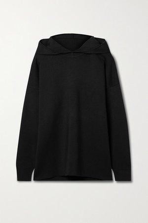 Silk-blend Hoodie - Black