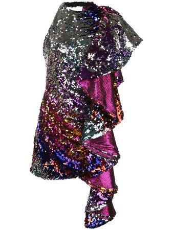 Halpern Embellished Ruffle Dress