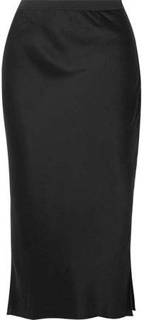 The Jessica Silk-charmeuse Midi Skirt - Black