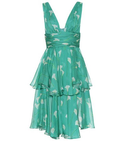 Paros floral silk dress