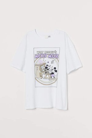 T-shirt with Printed Design - White