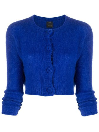 Shop blue Pinko cropped knit cardigan with Express Delivery - Farfetch