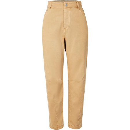 Beige tapered twill trousers   River Island