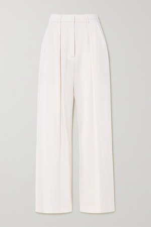 Pleated Merino Wool Wide-leg Pants - White