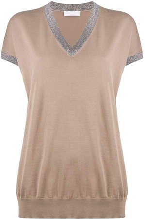 Metallic-Trimmed Knitted Top