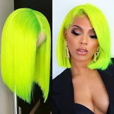 neon green body wave full lace wig - Google Search
