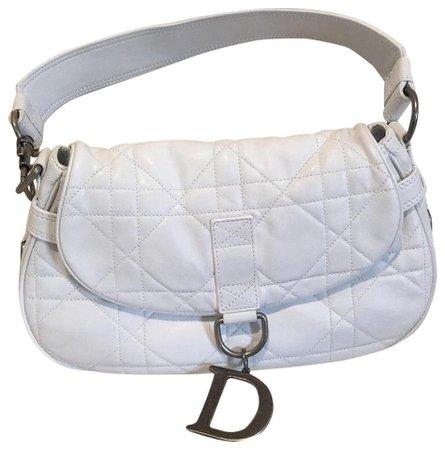 Dior lambskin white leather hobo bag