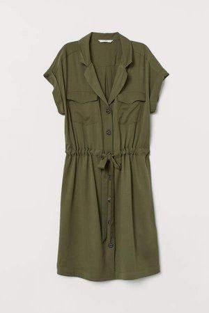 Viscose Shirt Dress - Green