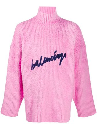Balenciaga Scribble Embroidered Logo Knitted Jumper - Farfetch