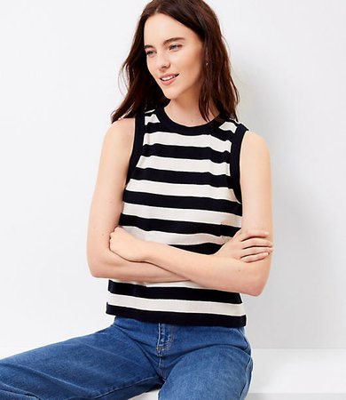 Petite Striped Relaxed Scoop Neck Tank