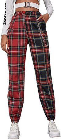 DIDK Women's Tartan Plaid Mid Waist Straight Pants Multicolor Red XL at Amazon Women's Clothing store