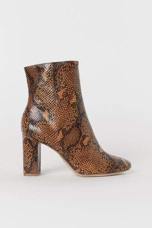 Snakeskin-patterned Boots - Beige