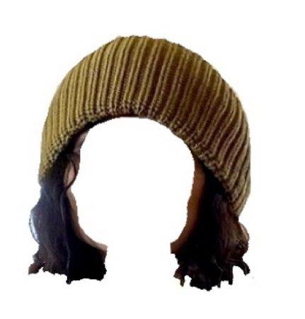 black hair yellow beanie