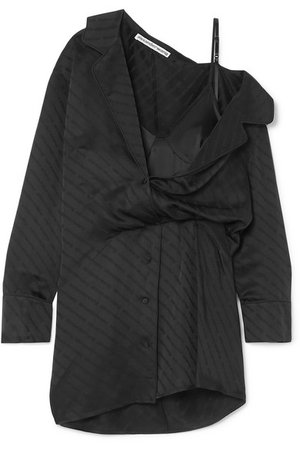 Alexander Wang | Draped lace-trimmed silk-blend and satin-jacquard mini dress | NET-A-PORTER.COM