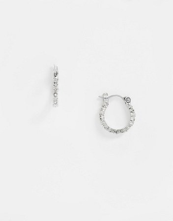 Pieces rhinestone mini hoop earrings in silver | ASOS